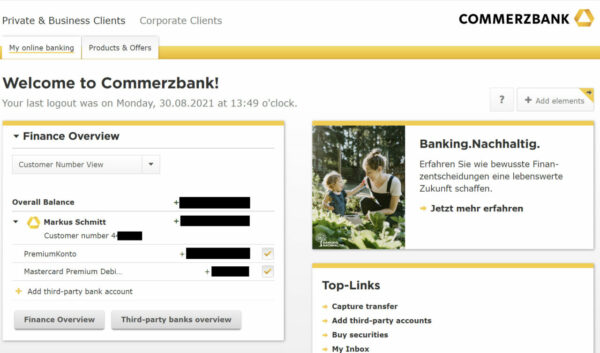 Commerzbank Bank Account Login in English